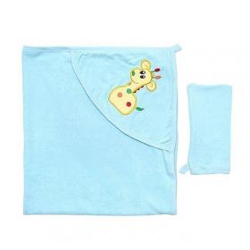 Полотенце-уголок махровое с рукавичкой 916Т85-916Т (Цвета в ассортименте)