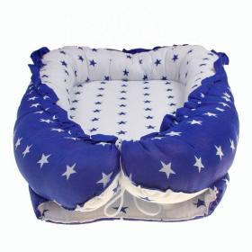 Кокон-гнездышко для новорожденных Звездочки цвет: белый/синий