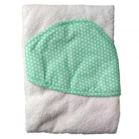 Полотенце с капюшоном Топотушки М-5 100х80 цвет: бирюза/горох