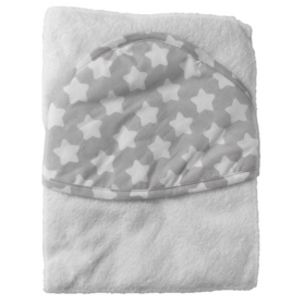 Полотенце с капюшоном Топотушки М-5 100х80 цвет: серый/звезда