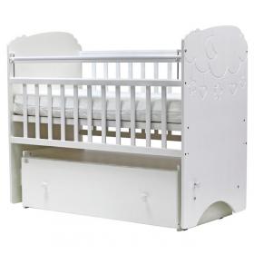 Кроватка-маятник с ящиком Топотушки Софья Облака цвет: белый
