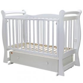 Кроватка-маятник с ящиком Топотушки Валенсия-6 цвет: белый