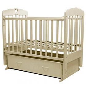 Кроватка-маятник с ящиком Топотушки  Виолетта-6 сердечко цвет: слоновая кость