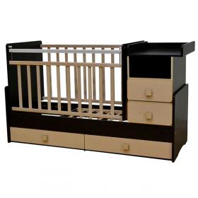 Кроватка-трансформер Антел Ульяна-4 New, маятник цвет: венге/клен