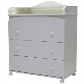 Пеленальный комод Каролина 80/3 МДФ 3 ящика цвет: белый