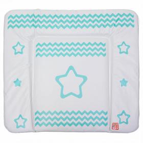 Пеленальный матрас Топотушки Звезда с зигзагом, 82х73 цвет: бирюзовый