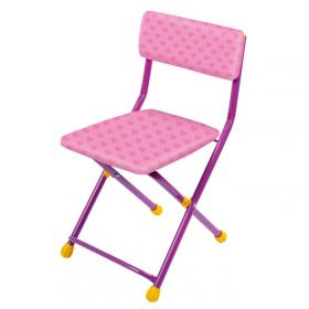 Стул детский складной Ника СТУ3 цвет: розовый/сердечки