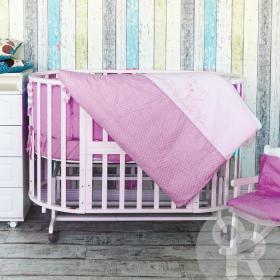Комплект в кроватку Гав-Гав 6 предметов, бортики-подушки, цвет: розовый
