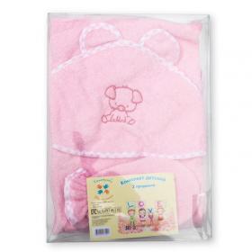 Комплект для купания (полотенце-уголок+рукавичка), вышивка  М-2.1 цвет: розовый