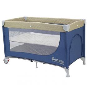Детский манеж-кровать Rant Romano RP100 цвет: бежевый/синий