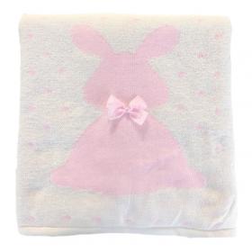 Одеяло-плед вязанный Зайка с бантиком 9025 цвет: белый/заяц розовый