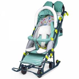 Санки-коляска Ника Детям НД7-3 цвет: зеленый