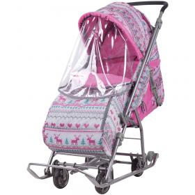 Санки-коляска Ника Умка 3-1 УЗ-1 розовый/вязанный узор