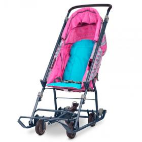 Санки-коляска Ника Умка 3-1 УЗ-1 розовый/вязаный узор