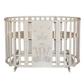 Круглая кроватка с маятником 6 в 1 Антел Северянка-3 Корона цвет: слоновая кость