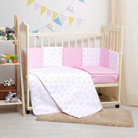 Комплект в кроватку Кубики 6 предметов 10607 цвет: розовый/девочка