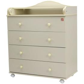 Пеленальный комод 4 ящика Топотушки Артемка ЛДСП 800/4 цвет: слоновая кость