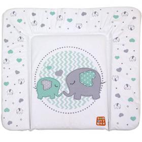 Пеленальный матрас Топотушки Слоники, 82х73 цвет: бирюзовый