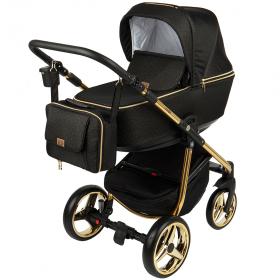 Коляска 2 в 1 Adamex Reggio Special Edition, Y117 цвет: черный/золотой