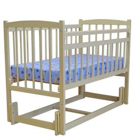 Кроватка-маятник продольный Массив Беби-3, цвет: слоновая кость