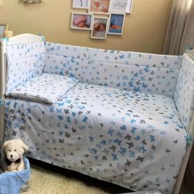 Бортик в кроватку Эдельвейс Бабочки, 10143 цвет: голубой