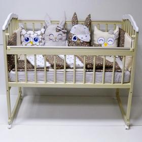 Кроватка-качалка Malika Melisa-2 Lux цвет: слоновая кость/белый