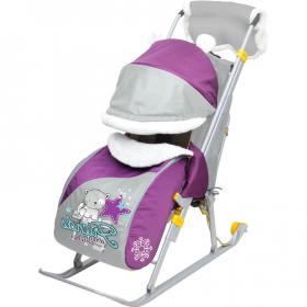 Санки-коляска Ника Детям 6 НД6  цвет: котенок/баклажановый