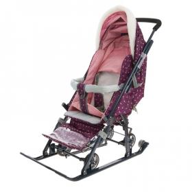 Санки-коляска Ника-Детям НД7-1Б/6 цвет: фламинго/сливовый