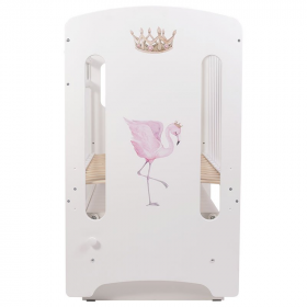 Кроватка Топотушки Фламинго (арт.59) МДФ маятник цвет: белый/принт