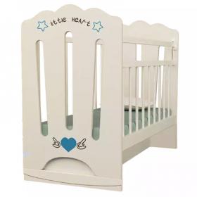Кроватка детская ВДК Little Heart, колесо-качалка+маятник цвет: слоновая кость