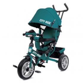 Велосипед трехколесный City-Ride с фарой (свет, звук), надувные колеса, CR-B3-05TQ цвет: зеленый