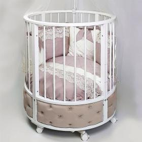 Кровать детская овальная с маятником Eva декор VIP цвет: белый/капучино