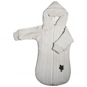 Конверт вязаный Baby Edel с рукавами и капюшоном, 12453 цвет: молочный