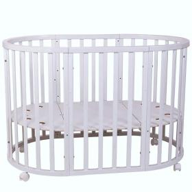 Кроватка-трансформер с маятником, овальная 7 в 1 Топотушки Селена цвет: белый