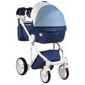 Коляска 2 в 1 Adamex Luciano Deluxe Q272 цвет: белый/голубой/синий