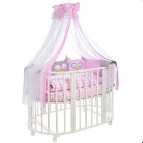 Комплект в кроватку Евротек, Спящие совята, 10 предметов, 35335 цвет: розовый