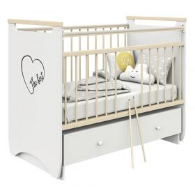Кроватка-маятник+ящик Атон Герда цвет: белый/натуральный