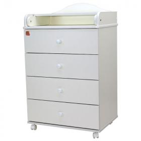 Пеленальный комод 4 ящика Топотушки Фортуна ЛДСП 600/4 цвет: белый