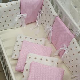 Бортик в кроватку Евротек Зигзаг 12 подушек 49715 цвет: горох розовый/звезда кофейная