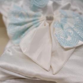 Конверт-одеяло на выписку 2 предмета Атлас цвет: белый/салатовое кружево